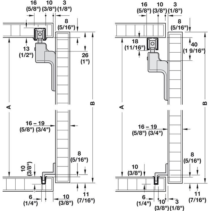 Hafele 40233029 Sliding Door Hardware Slido Classic 20 Vf C Set